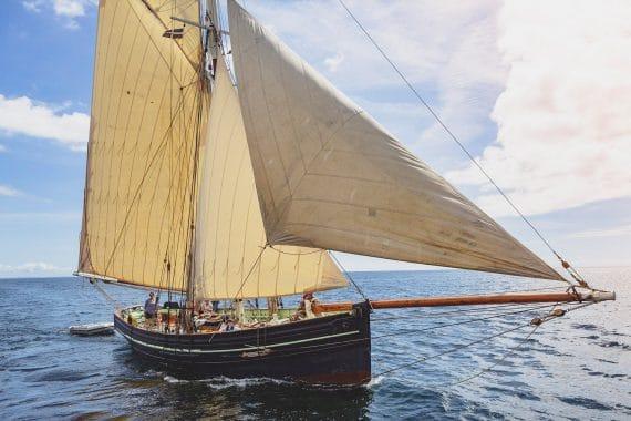 Agnes under sail classic boat sailing Cornwall