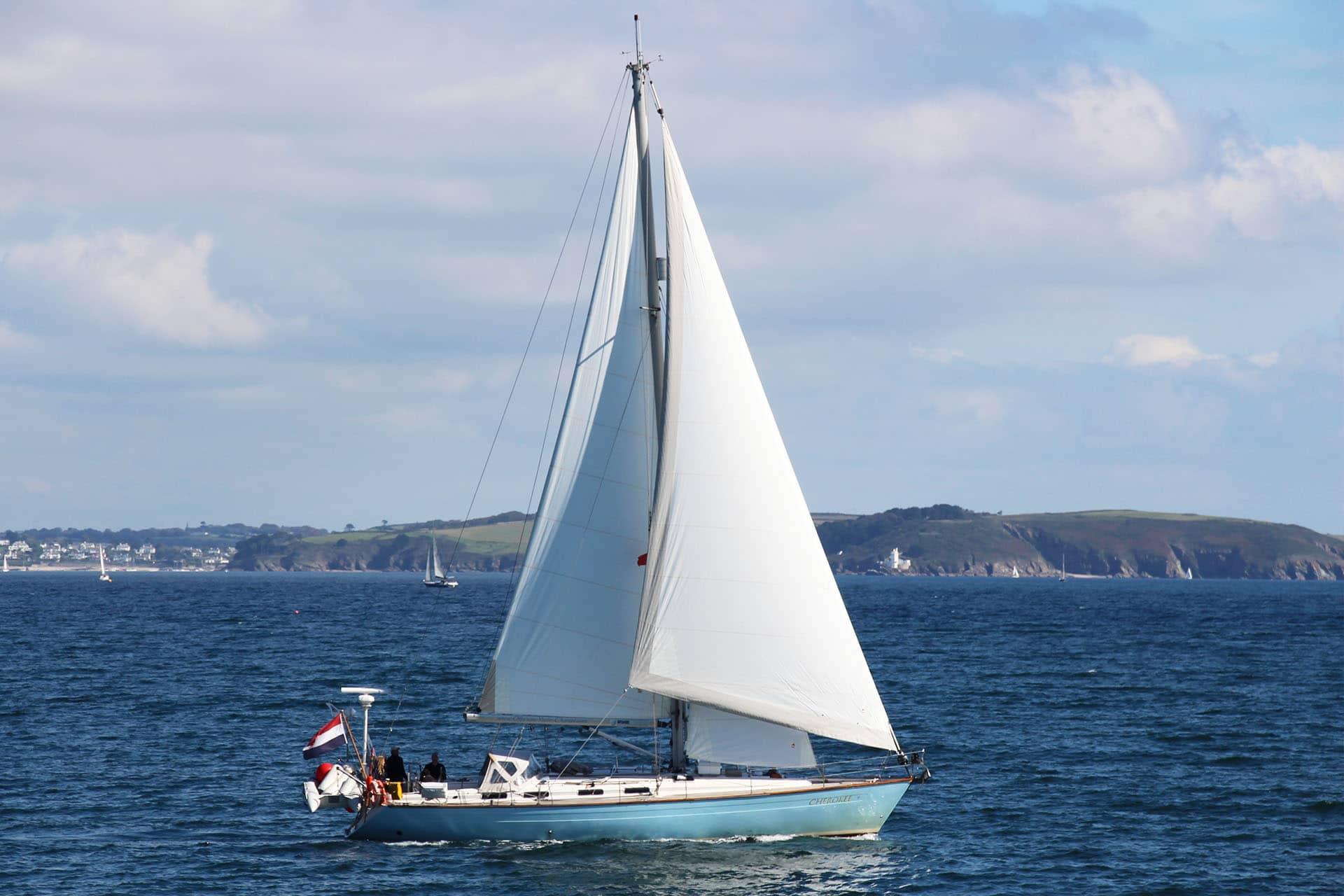 Cherokee under full sail