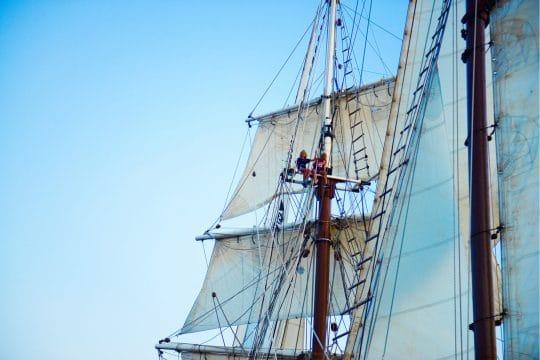 Florette crew up the mast
