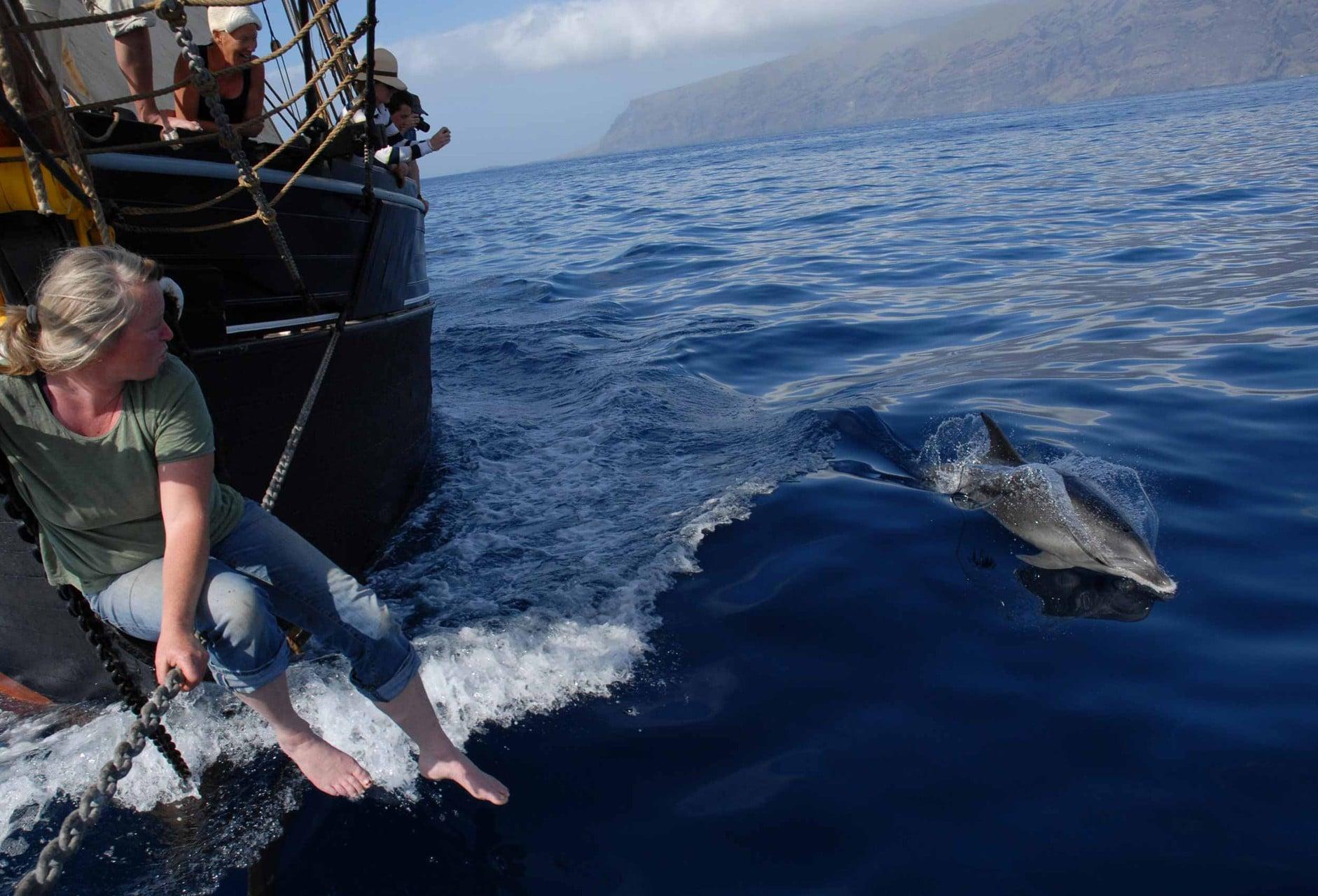 Bessie Ellen skipper with dolphins on the bowsprit