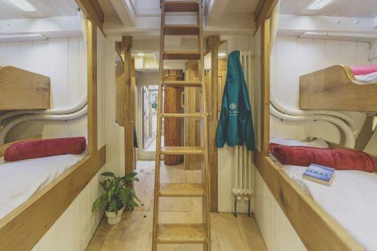 Wooden pilot cutter Pellew bunks and ladder
