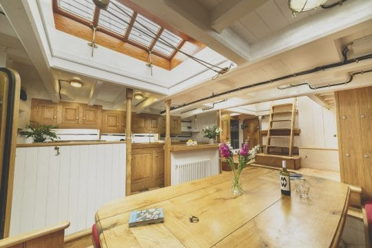 Pellew wooden traditional boat galley