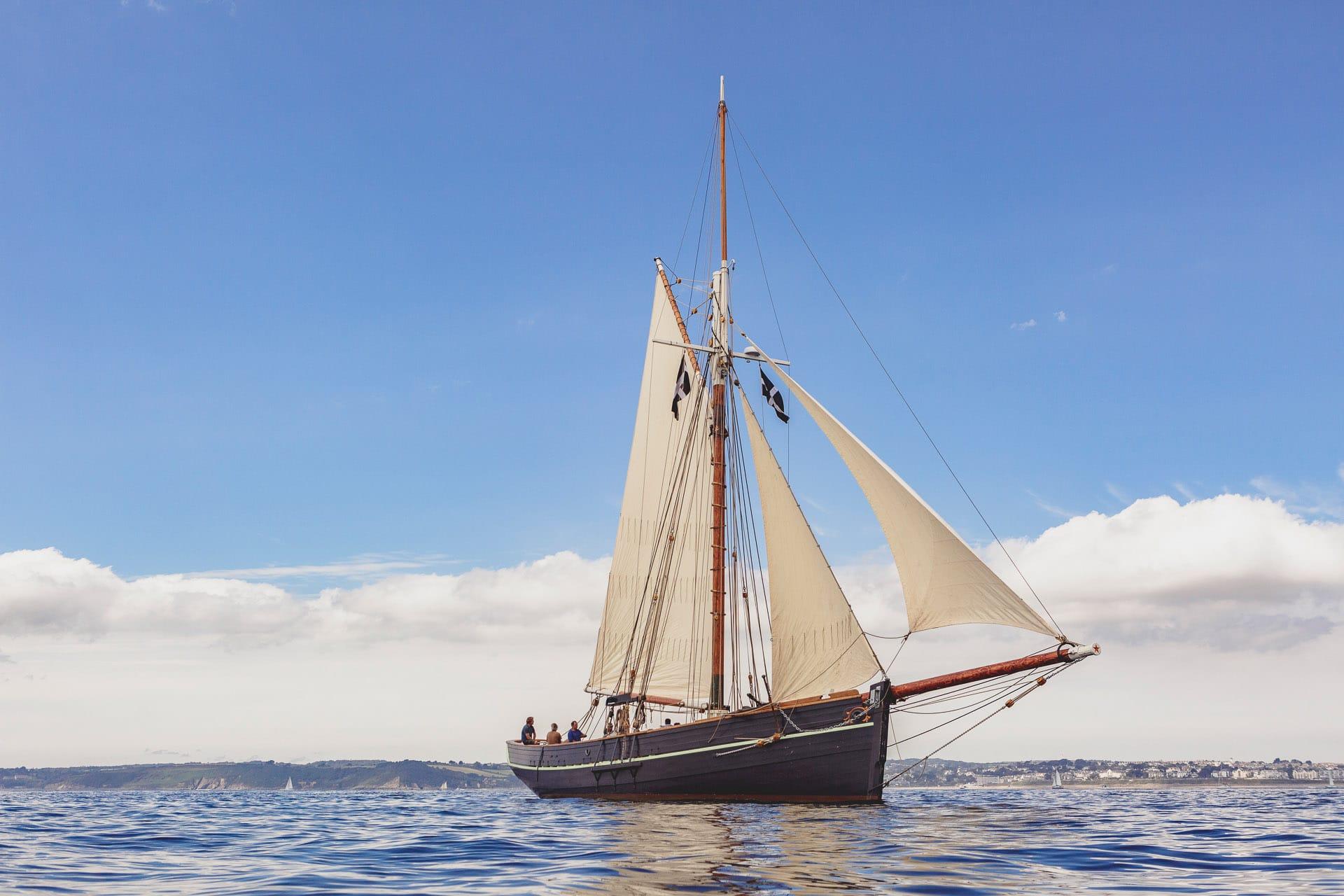 Pellew classic pilot cutter sailing Cornwall