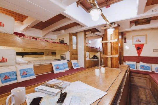 Pilgrim of Brixham below bunks and table