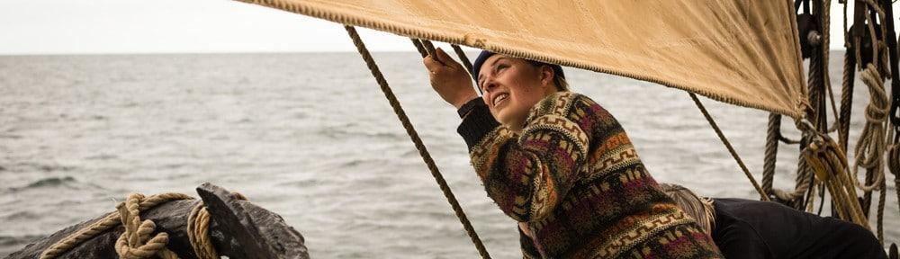 Single traveller sailing on board Bessie Ellen