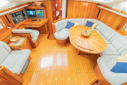 Skyelark saloon and dining area luxury yacht charter