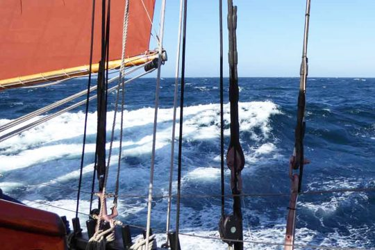 Trinovante sailing at sea
