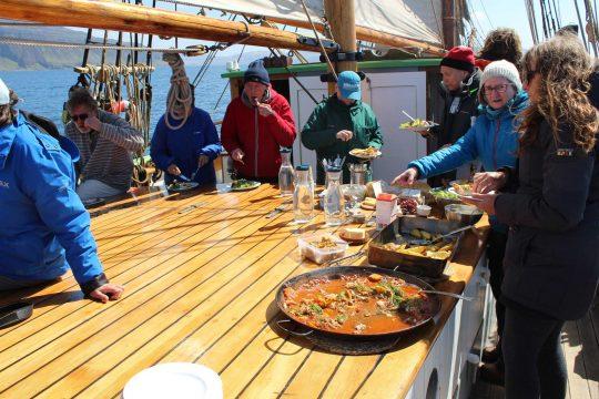 Dining on board Bessie Ellen